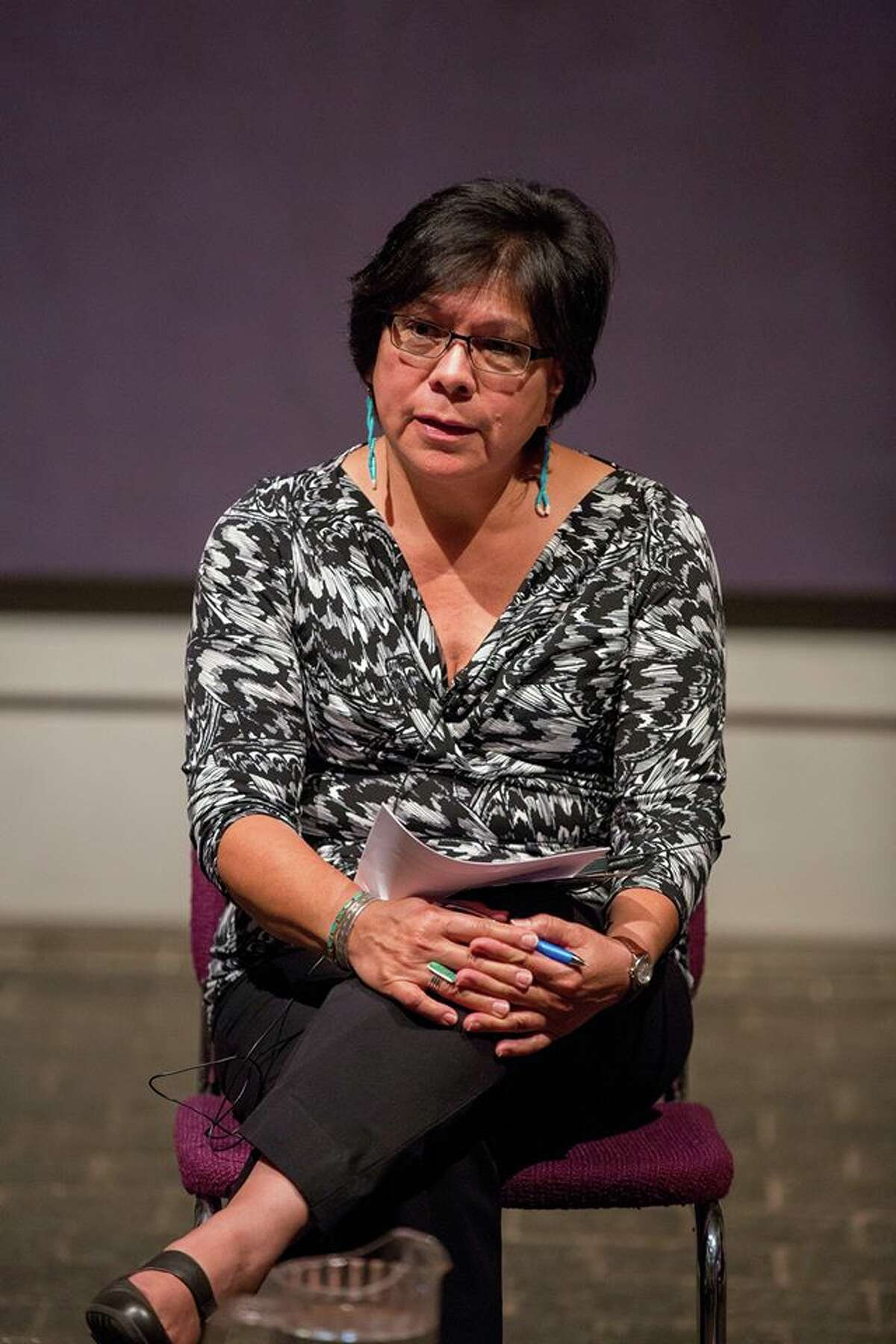 Suzanne Benally, the first Indigenous Executive Director of Cultural Survival, shares her personal spiritual journey as a Navajo and Santa Clara from New Mexico at Rothko Chapel Thursday.