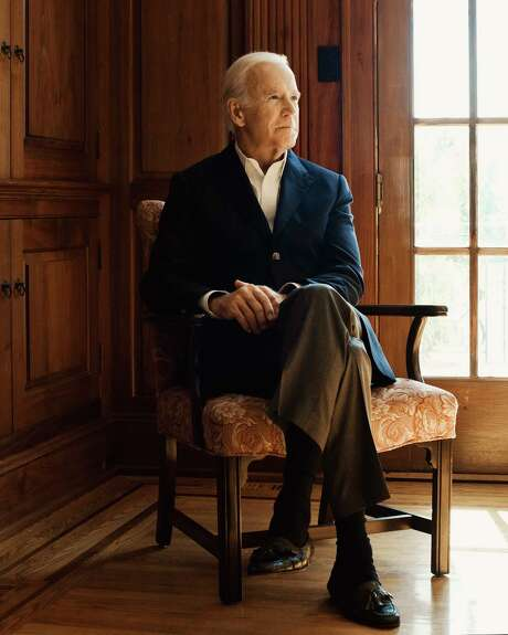 """Former Vice President Joe Biden at his home in Wilmington, Del., Oct. 19, 2017. His new book, """"Promise Me, Dad: A Year of Hope, Hardship, and Purpose,"""" gives the reader full visibility into what it was like to care for his son — and then mourn him — while simultaneously fulfilling his duties as vice president. (Ryan Pfluger/The New York Times) Photo: RYAN PFLUGER, STR / NYTNS"""