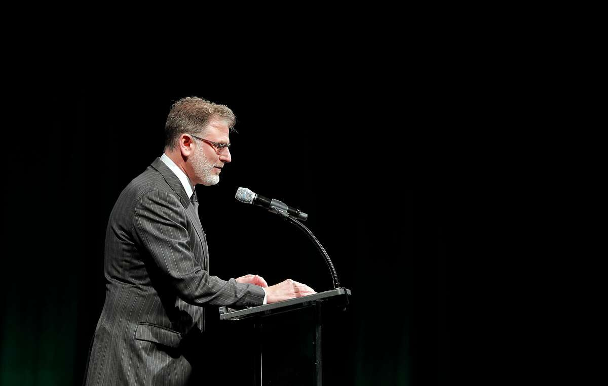 SFFILM Executive Director Noah Cowan welcomes guests during the SFFILM Awards Night at the Palace of Fine Arts Exhibition Center in San Francisco, Calif., on Tuesday, December 5, 2017. Kathryn Bigelow was awarded the Irving M. Levin Award for Film Direction, Kate Winslet the Peter J. Owens Award for Acting, and Emily V. Gordon and Kumail Nanjiani the Kanbar Award for Storytelling.