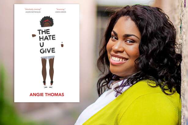 "Angie Thomas and her book ""The Hate U Give."""
