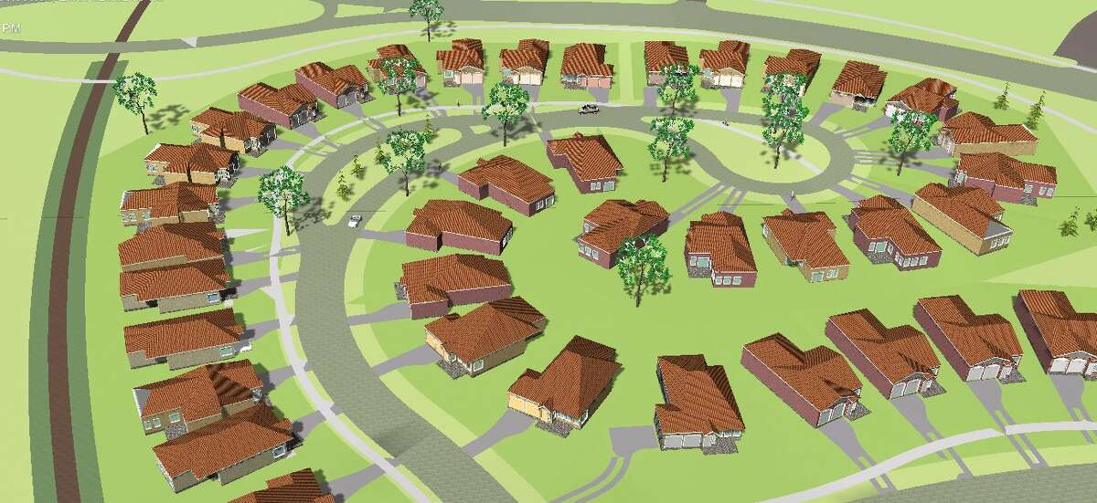 This rendering shows a proposed housing subdivision included in the Coves & Winfield real estate project.