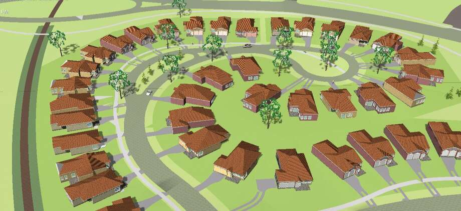 This rendering shows a proposed housing subdivision included in the Coves & Winfield real estate project. Photo: Courtesy