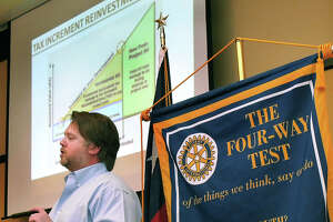 Cliffe Killam, of Killam Companies, spoke at the Gateway Rotary Club meeting Monday afternoon at the Embassy Suites about the Tax Increment Reinvestment Zone (TIRZ) his company is proposing for Laredo.