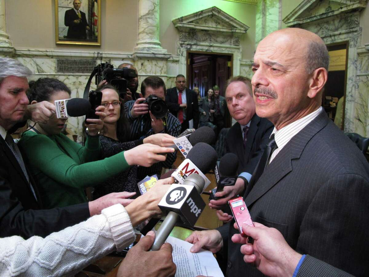 In this March 3, 2017 file photo, Del. Dan Morhaim talks to reporters in Annapolis, Md. after the Maryland House of Delegates voted 138-0 to reprimand him for acting