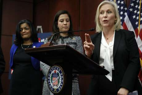 Sen. Kirsten Gillibrand of New York answers a question about her statement on Sen. Al Franken, D-Minn., at the end of a news conference on sexual harassment in the workplace on Capitol Hill Wednesday. Photo: Jacquelyn Martin, Associated Press