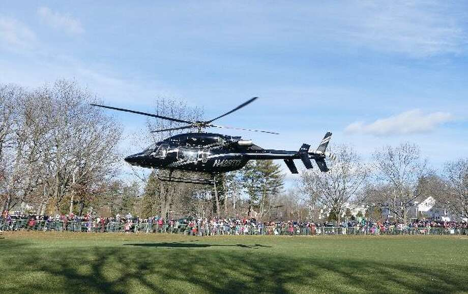 Santa arrives via helicopter to Mead Park on Dec. 10, 2016. Photo: Contributed Photo