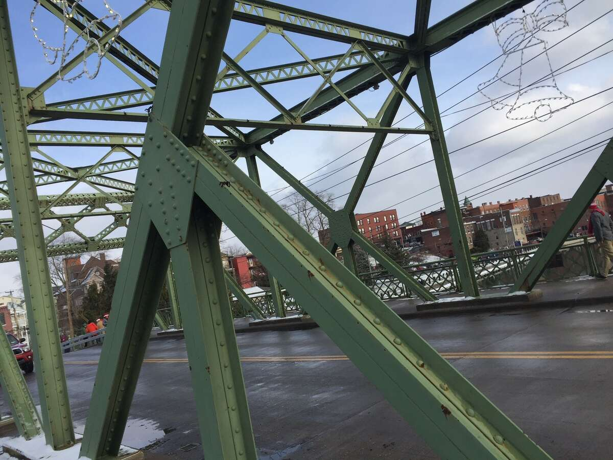 A detail from the, yes, Bridge Street Bridge, decorated for the holidays.
