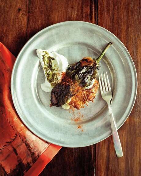 """Green Chile Relleno Latkes from """"King Solomon's Table: A Culinary Exploration of Jewish Cooking from Around the World"""" by Joan Nathan. Photo: Gabriela Herman / Alfred A. Knopf / GABRIELA HERMAN"""