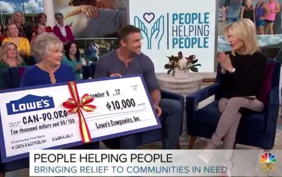The mayor of Rose City, Bonnie Stephenson (left) appeared with CAN.DO.org founder Eric Klein and NBC host Megyn Kelly (right) to discuss Tropical Storm Harvey relief. Image provided by NBC.