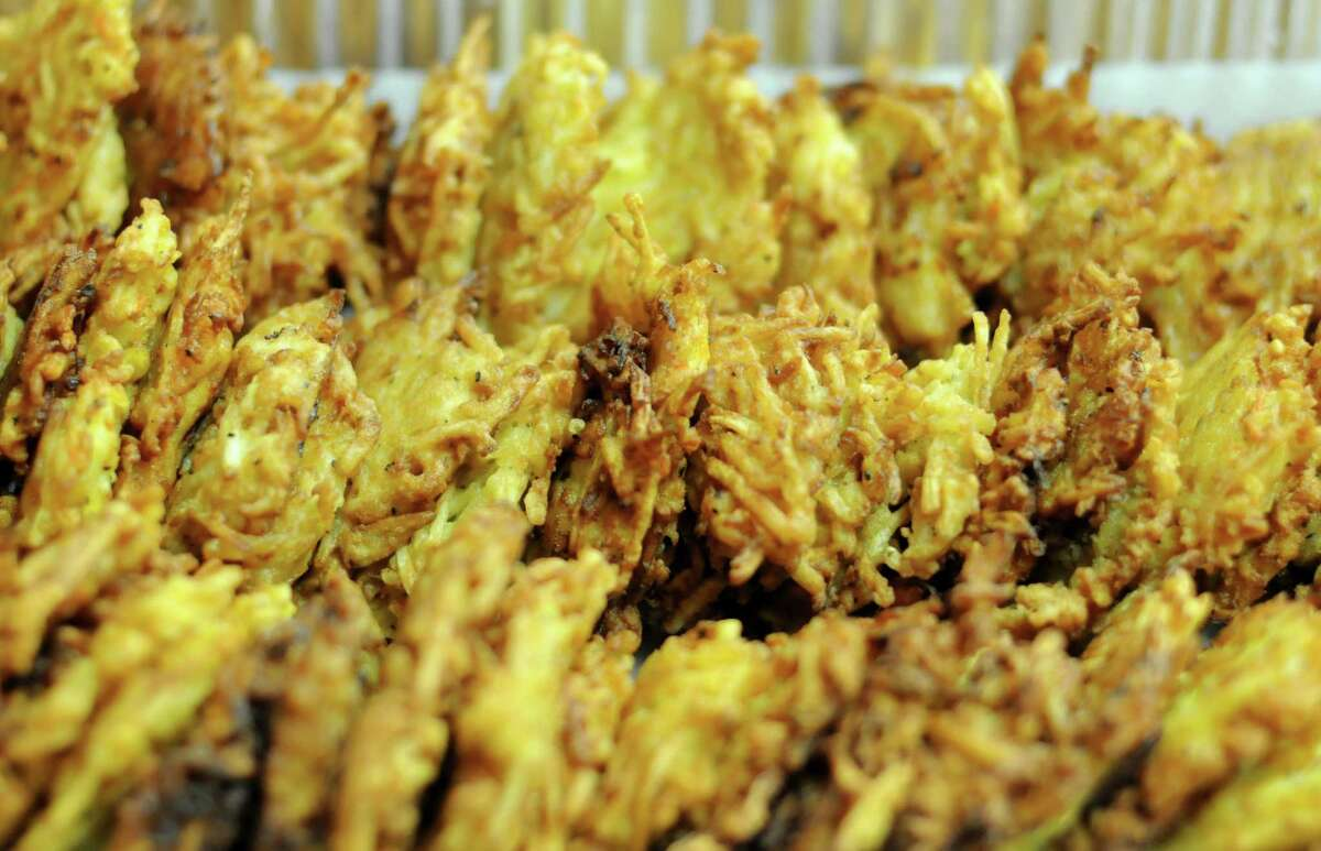 A tray of latkes await hungry participants during a recent event at the Barshop Jewish Community Center of San Antonio.