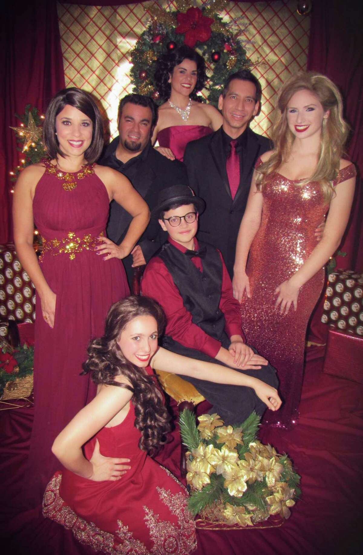 """Crystal Vera (clockwise from left), Stephen Martinez, Sarah Peters, Luis Garcia Jr, Ashton Folsom, Nickie Barron and Peyton Nebens star in """"Home for the Holidays"""" at The Harlequin."""