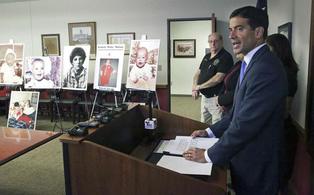 District Attorney Nico LaHood announces his intentions to prosecute Genene Jones on December 6, 2017
