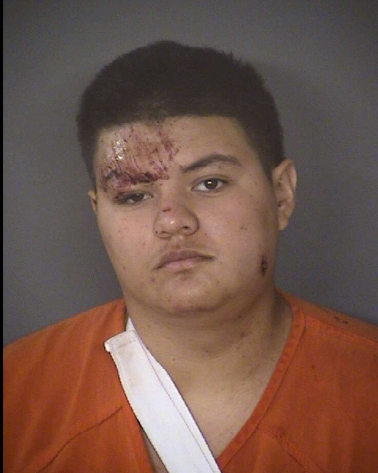 The suspect, Andrew Plata, was eventually arrested Sunday on charges of aggravated assault with a deadly weapon against a public servant, aggravated assault with a deadly weapon and evading arrest. He was booked into the Bexar County Jail on a $40,000 bond after he was released from the hospital. Photo: Bexar County Jail