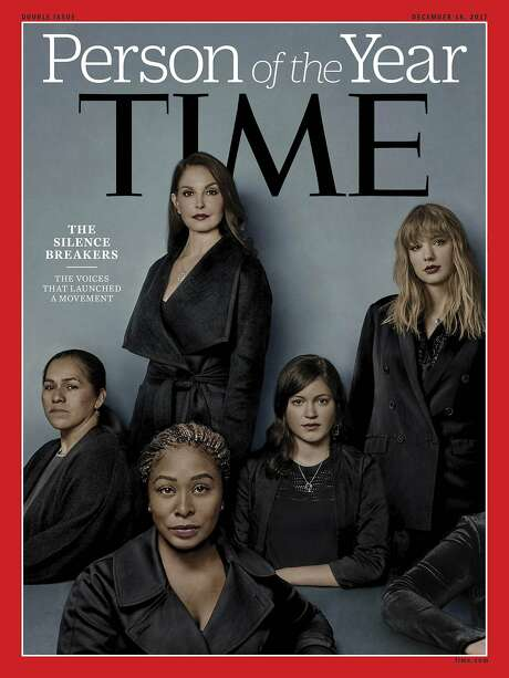 """This image provided by Time magazine, shows the cover of the magazine's Person of the Year edition as """"The Silence Breakers,"""" those who have shared their stories about sexual assault and harassment. The magazine's cover features Ashley Judd, Taylor Swift, Susan Fowler and others who say they have been harassed. (Time Magazine via AP) Photo: Associated Press"""