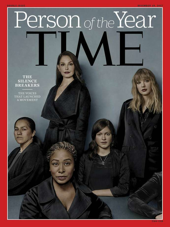 "This image provided by Time magazine, shows the cover of the magazine's Person of the Year edition as ""The Silence Breakers,"" those who have shared their stories about sexual assault and harassment. The magazine's cover features Ashley Judd, Taylor Swift, Susan Fowler and others who say they have been harassed. (Time Magazine via AP) Photo: Associated Press"