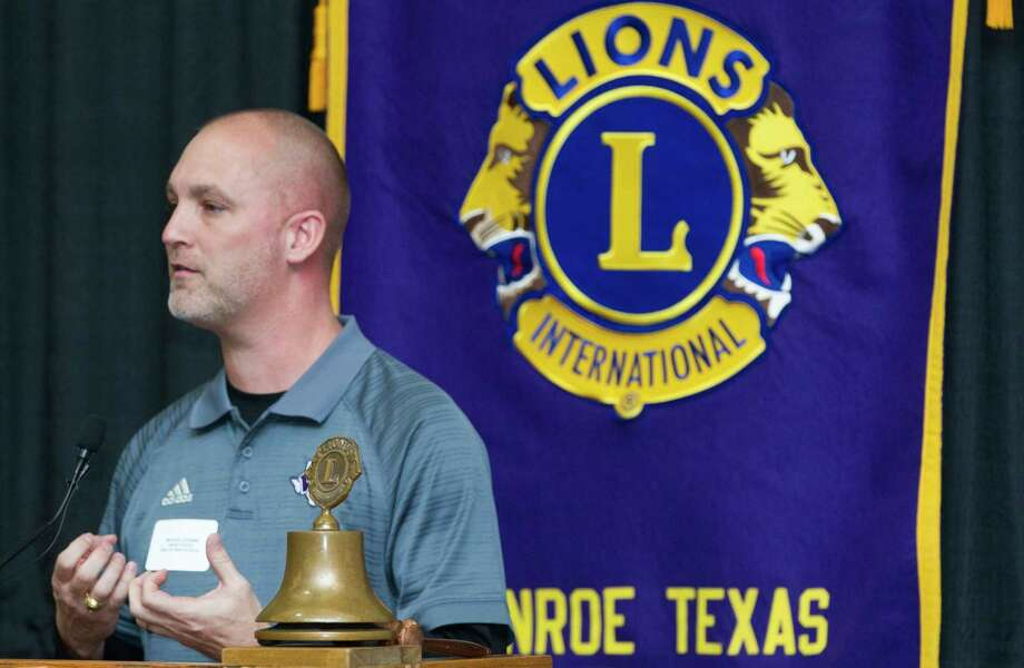 Willis head coach Michael Storms speaks during the Conroe Noon Lions Club's annual Roundball Roundup with area boys basketball coaches at the Lone Star Convention & Expo Center, Wednesday, Dec. 6, 2017, in Conroe. Photo: Jason Fochtman, Staff Photographer / © 2017 Houston Chronicle