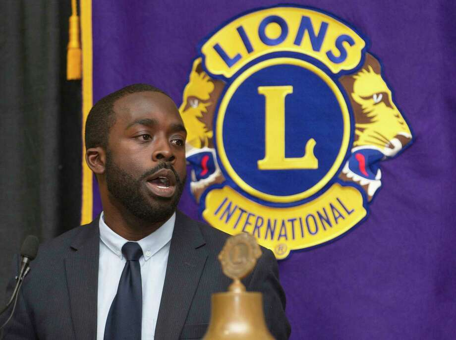 Caney Creek head coach Randy Appiah  speaks during the Conroe Noon Lions Club's annual Roundball Roundup with area boys basketball coaches at the Lone Star Convention & Expo Center, Wednesday, Dec. 6, 2017, in Conroe. Photo: Jason Fochtman, Staff Photographer / © 2017 Houston Chronicle