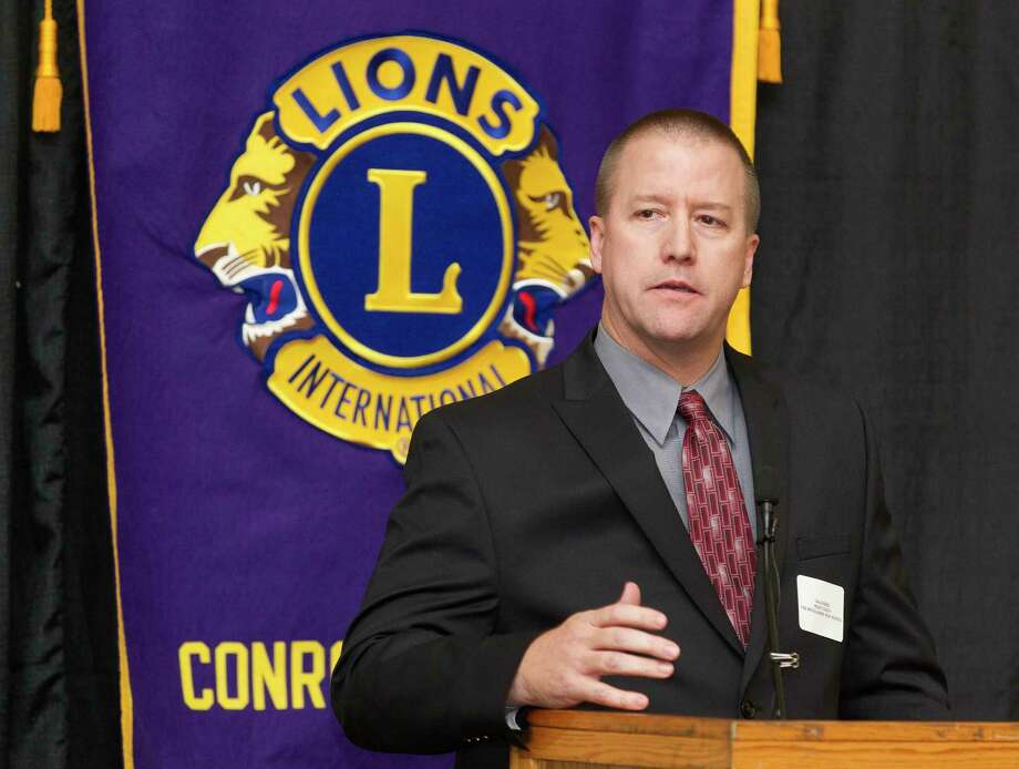 The Woodlands head coach Dale Reed speaks during the Conroe Noon Lions Club's annual Roundball Roundup with area boys basketball coaches at the Lone Star Convention & Expo Center, Wednesday, Dec. 6, 2017, in Conroe. Photo: Jason Fochtman, Staff Photographer / © 2017 Houston Chronicle