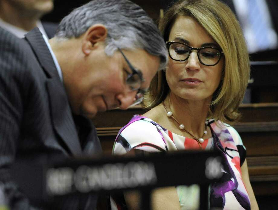 State Senate Republican Leader Len Fasano, R-North Haven, and House Minority Leader Themis Klarides, R-Derby, right. Photo: Jessica Hill / Associated Press / Associated Press