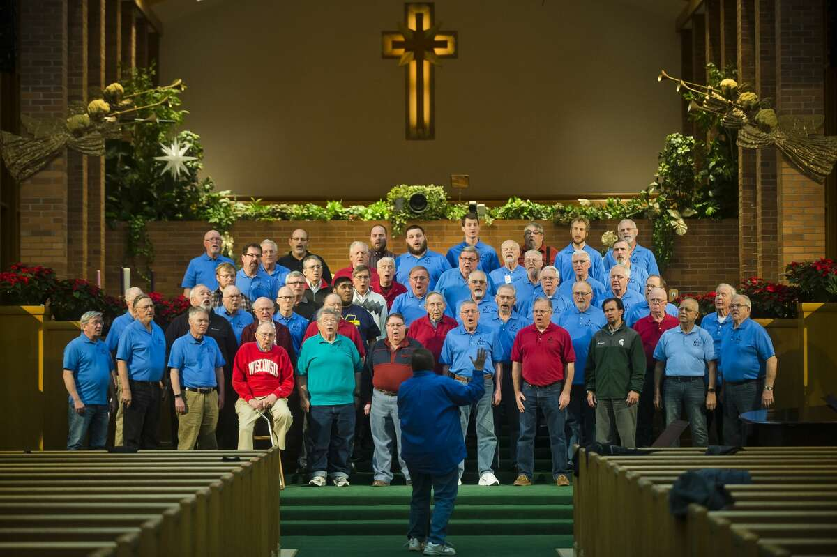 The Men of Music rehearse on Tuesday, Dec. 6, 2017 at First United Methodist Church for their upcoming Christmas concert at 2 and 7 p.m. on Sunday, Dec. 10. (Katy Kildee/kkildee@mdn.net)