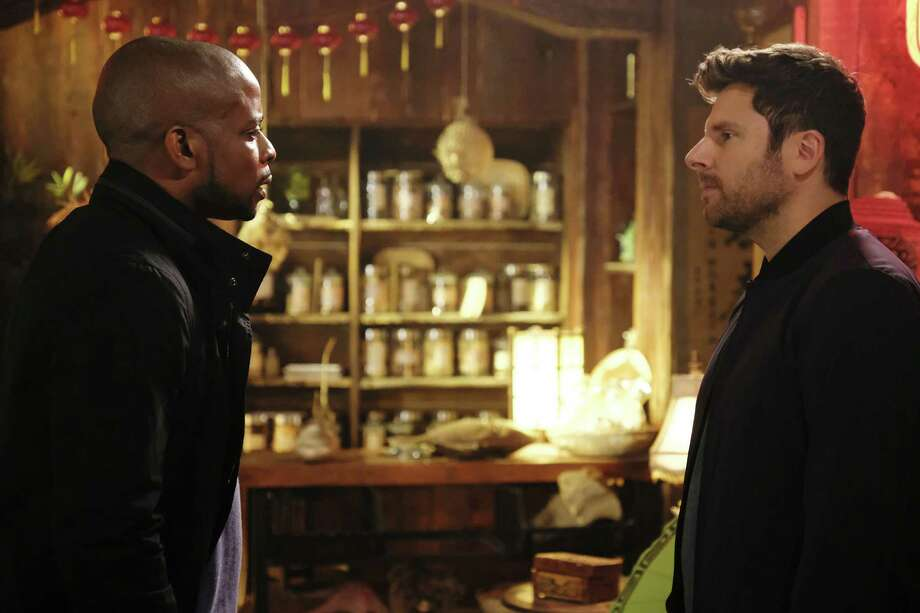 PSYCH: THE MOVIE -- Pictured: (l-r) Dule Hill as Burton ?Gus? Guster, James Roday as Shawn Spencer -- (Photo by: Alan Zenuk/USA Network) ORG XMIT: Season:2017 Photo: Credit: Alan Zenuk/USA Network / 2017 USA Network Media, LLC. Credit: Alan Zenuk/USA Network