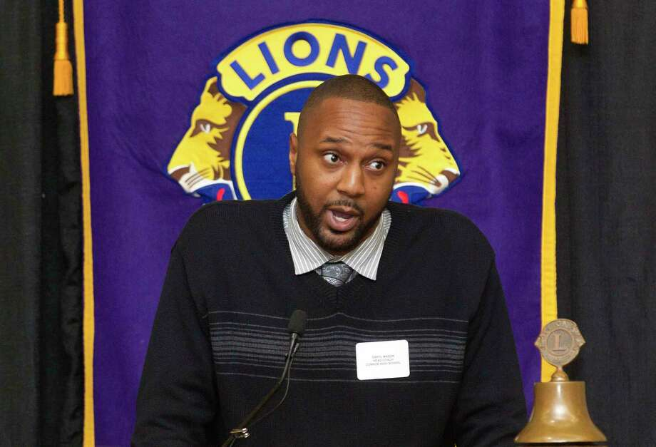 Conroe head coach Daryl Mason speaks during the Conroe Noon Lions Club's annual Roundball Roundup with area boys basketball coaches at the Lone Star Convention & Expo Center, Wednesday, Dec. 6, 2017, in Conroe. Photo: Jason Fochtman, Staff Photographer / © 2017 Houston Chronicle