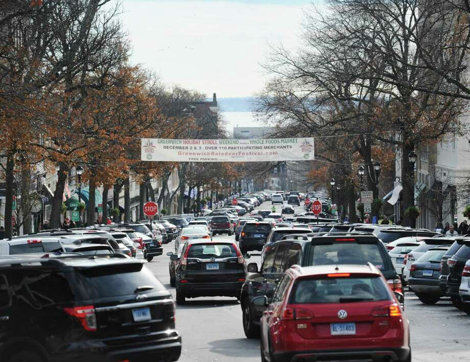 Drivers vie for parking during Greenwich's ninth annual Holiday Stroll Weekend on Saturday, Dec. 2, 2017. Photo: Bob Luckey Jr. / Hearst Connecticut Media / Greenwich Time