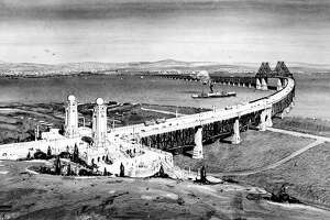 1950s: An architect's rendition of the proposed southern crossing at Hunter's Point. The bridge, that would have ended in Alameda, was one of several that was proposed between the 1940s and 1970s but not completed.