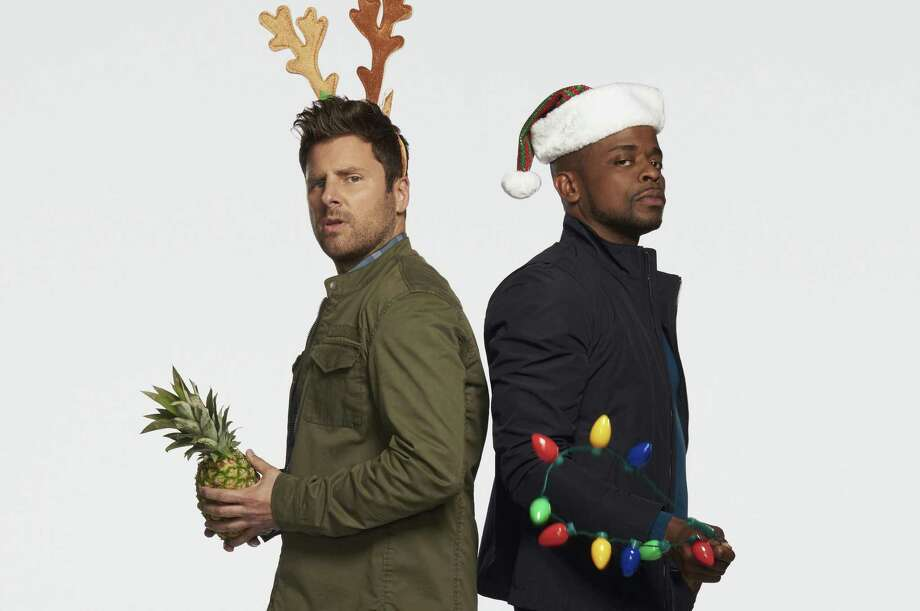 "San Antonio native and fierce Spurs fan James Roday, left, and co-star Dulé Hill are sure to cheer viewers with their engaging silliness in ""Psych: The Movie,"" TV's holiday revival of the hit USA Network crime romp. Photo: Dean Buscher /USA Network / 2017 USA Network Media, LLC"
