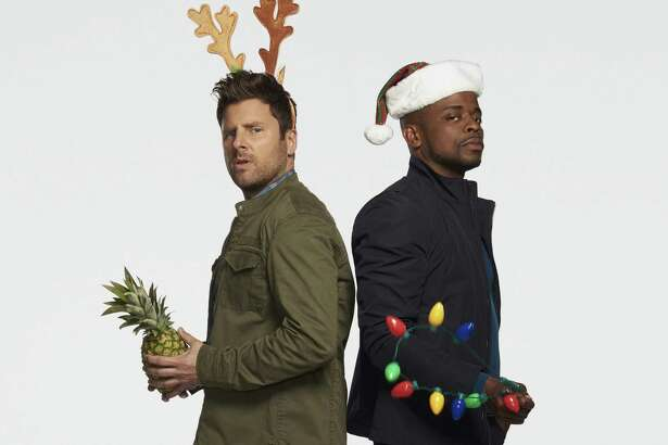 "San Antonio native and fierce Spurs fan James Roday, left, and co-star Dulé Hill are sure to cheer viewers with their engaging silliness in ""Psych: The Movie,"" TV's holiday revival of the hit USA Network crime romp."