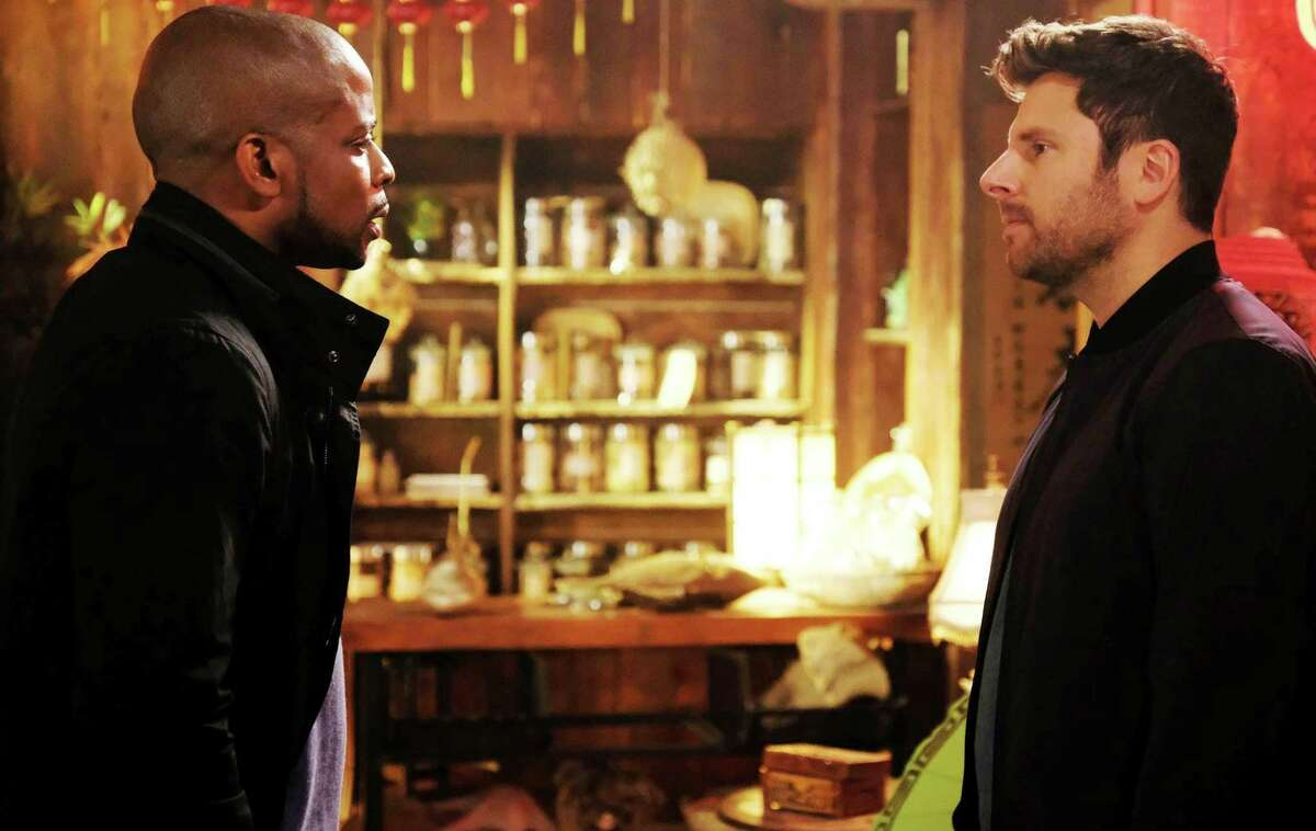 The hilariously playful banter between Shawn (Taft High grad James Roday), right, and Gus (Dulé Hill) in
