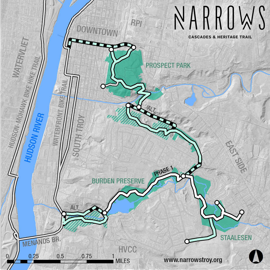 Map of The Narrows, a proposed five-mile trail network would connect South Troy, the East Side and the Hill, to Downtown and offer Collar City residents and visitors access to the secluded streams, waterfalls and historic landscapes spanning the City. Photo: WILL WALDRON, Albany Times Union / 20042300A