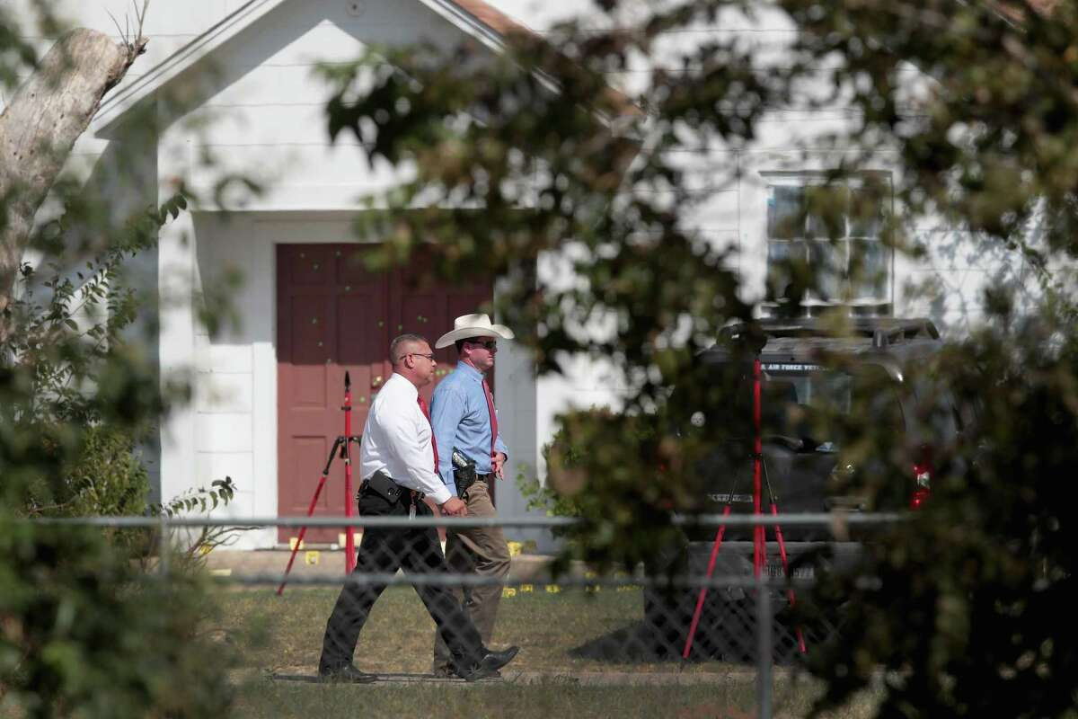 Law enforcement officials continue their investigation into the shooting at the First Baptist Church of Sutherland Springs on November 7, 2017 in Sutherland Springs, Texas. On November 5 a gunman, Devin Patrick Kelley, killed 26 people at the church and wounded 20 more when he opened fire during a Sunday service.