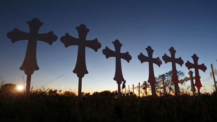 A view of the 26 crosses, Monday Nov. 6, 2017, for those killed in the mass shooting at the First Baptist Church of Sutherland Springs. Photo: Edward A. Ornelas, Staff / San Antonio Express-News / © 2017 San Antonio Express-News
