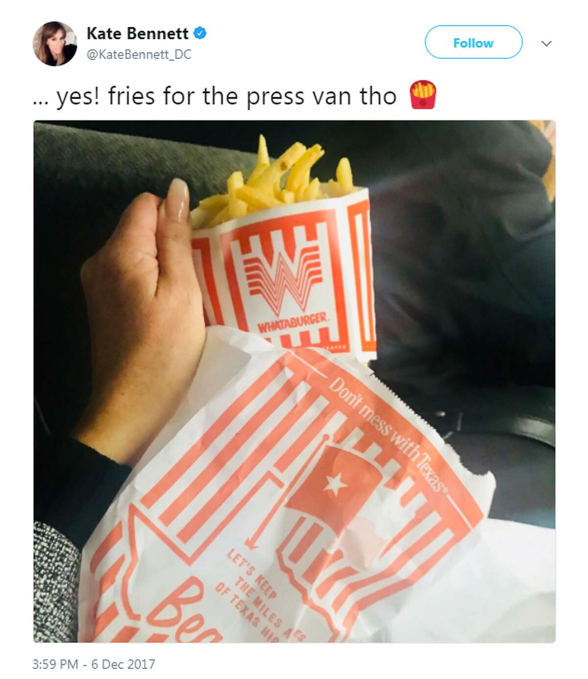 While visiting the Texas Coast for to check on recovery efforts since Hurricane Harvey landed in late August, Trump and second lady Karen Pence stopped by Whataburger. Her Director of Communications, Stephanie Grisham, tweeted a photo of the first and second lady ordering their meals.