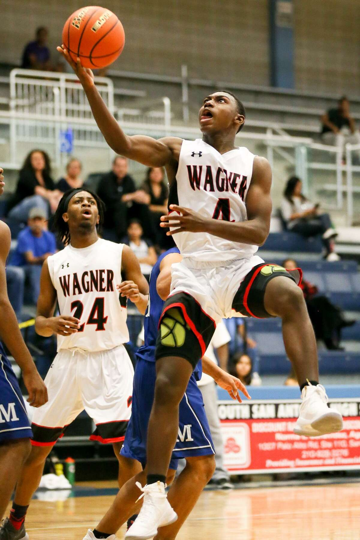 Wagner's Jalen Jackson drives to the basket during their semifinal game with MacArthur in the 2017 South San Antonio Bobcat Boys Varsiy Basketball Tournament game with MacArthur at the South San Athletic Center on Saturday, Dec. 2, 2017. Jackson was named MVP of the tournament after Wagner beat Silsbee 100-68 in the championship game. MARVIN PFEIFFER/mpfeiffer@express-news.net