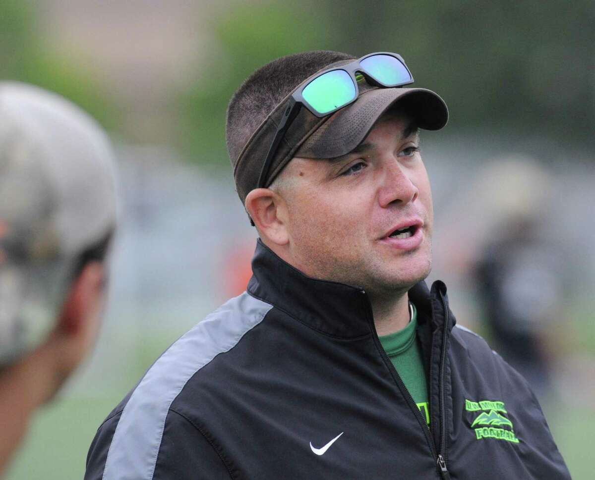 New Milford High School head football coach Larry Badaracco during the annual Grip It & Rip It 7-on-7 football tournament at New Canaan High School, Conn., Saturday, July 9, 2016.