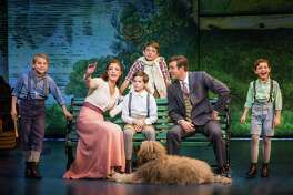 """Author J.M. Barrie (Billy Harrigan Tighe, second from right) with the family who inspired his Peter Pan stories in the national touring production of """"Finding Neverland"""" at Proctors this week. (Publicity photo by Jeremy Daniels for """"Finding Neverland."""")"""