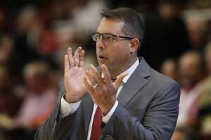 Stanford coach Jerod Haase applauds from the bench during the second half of the team's NCAA college basketball game against Montana on Wednesday, Nov. 29, 2017, in Stanford, Calif. (AP Photo/Marcio Jose Sanchez)