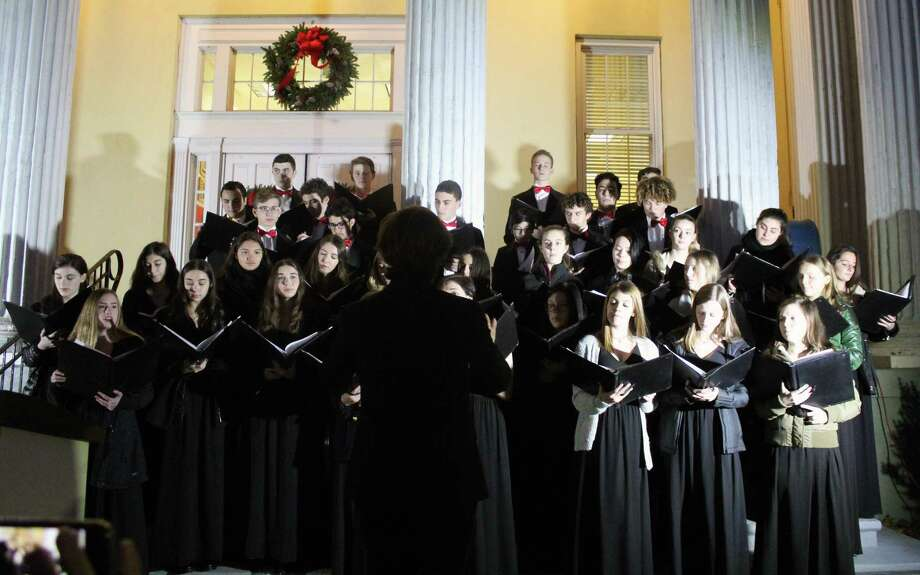 The Staples High School Orphenians choir sang at the Town's Annual Tree Lighting Ceremony outside Westport Town Hall on Friday, Dec. 1. Photo: Sophie Vaughan/Hearst Connecticut Media