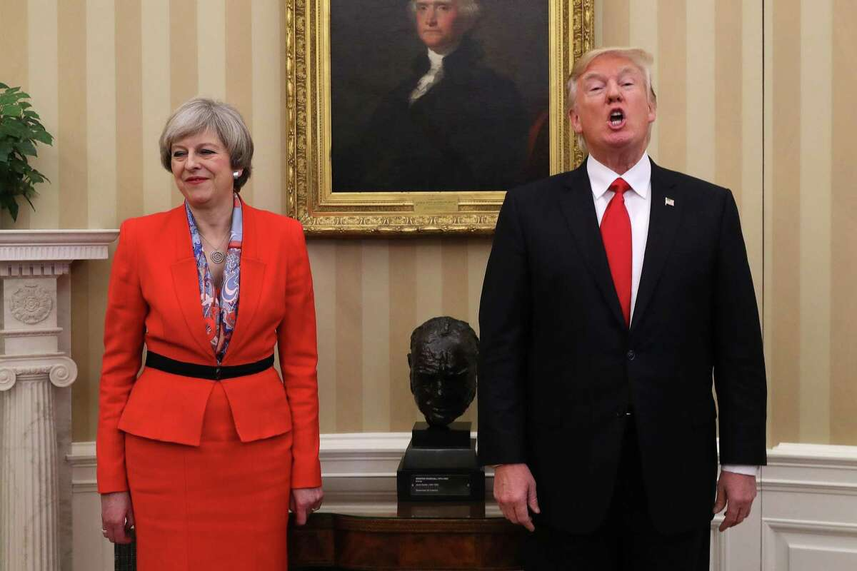British Prime Minister Theresa May meets with President Donald Trump in the Oval Office during a two-day visit to the Oval Office in January. May was dismayed by the recent anti-Muslim tweets the president sent.