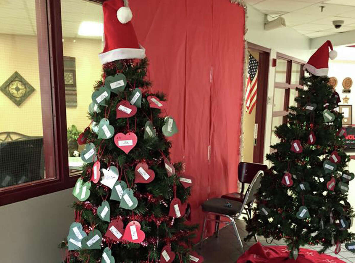 Copeland Elementary School displays their two Giving Trees during the 2015 holiday season.