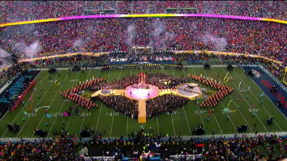 Halftime of Super Bowl 50 at Levi's Stadium, which will host college football's championship game. Photo: Cal Band Public Relations 2016