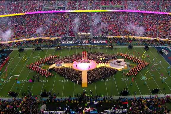 The Cal Band, under the direction of Bob Calonico performs at halftime of Super Bowl 50 at Levi's Stadium