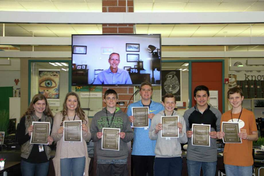 Jim Hall, President and CEO of WorldStrides, surprised Riverwood Middle School students Ainsley Smith, Mackenna Zeller, Ethan Mills, Drew Stanislaus, Eli Anderson, Logan Ackley and Dylan Hebert with a trip to Washington, D.C. via Skype. Photo: Courtesy Photo