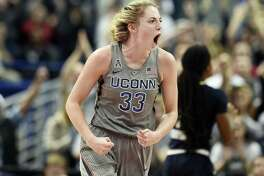UConn's Katie Lou Samuelson reacts after making a basket during the first half against Notre Dame on Sunday in Hartford, Conn.