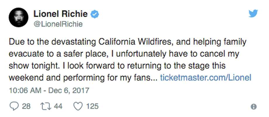 Celebrities reacted to Southern California wildfires on social media. Some revealed they had evacuated their homes or were prepared to do so. Photo: Twitter Screen Grab