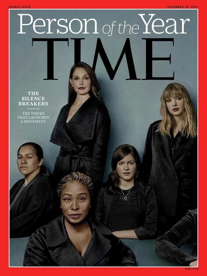Adama Iwu, foreground, and from left, Isabel Pascual, Ashley Judd, Susan Fowler and Taylor Swift are on Time's Person of the Year cover. Photo: HONS / Time Magazine