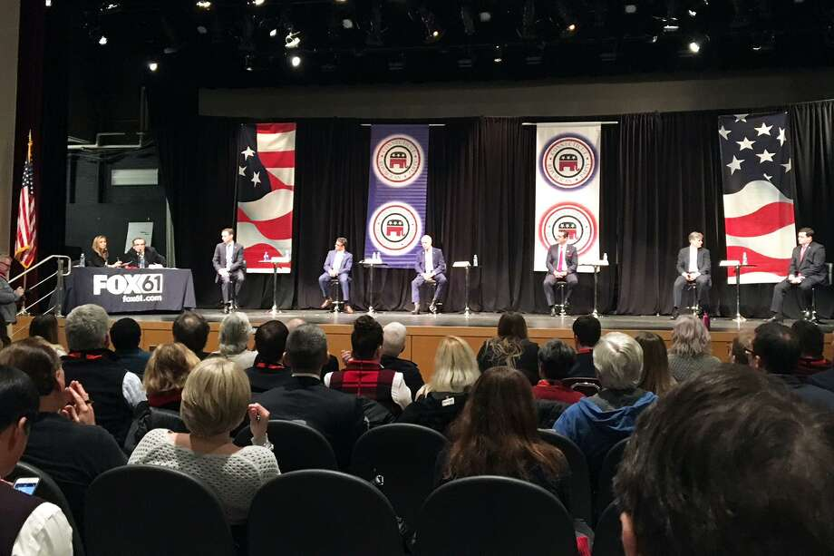Republican candidates for Governor in Connecticut hold an early debate in Windsor Dec. 6, 2017. Photo: Ken Dixon / Hearst Connecticut Media / Connecticut Post