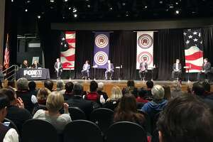 Republican candidates for Governor in Connecticut hold an early debate in Windsor Dec. 6, 2017.